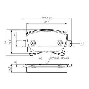 BOSCH  0 986 TB2 458 Bremsbelagsatz, Scheibenbremse Breite: 105,5mm, Höhe: 56mm, Dicke/Stärke: 17mm