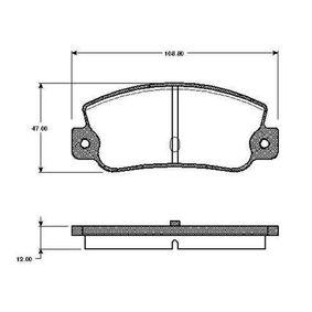 Bremsbelagsatz, Scheibenbremse Breite: 108,8mm, Höhe: 47mm, Dicke/Stärke: 12mm mit OEM-Nummer 791873