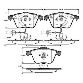 Bremsbelagsatz, Scheibenbremse Breite 1: 155,2mm, Breite: 156,4mm, Höhe: 72,9mm, Dicke/Stärke: 20mm mit OEM-Nummer 8E0 698 151 C