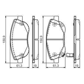 Bremsbelagsatz, Scheibenbremse Breite: 150,9mm, Höhe: 61,3mm, Dicke/Stärke 1: 19mm, Dicke/Stärke 2: 19,5mm mit OEM-Nummer 249.46