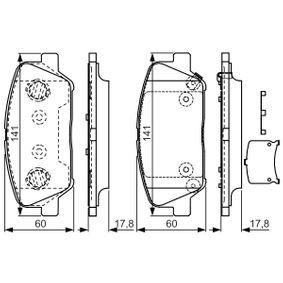 Bremsbelagsatz, Scheibenbremse Breite: 141mm, Höhe: 60mm, Dicke/Stärke: 17,8mm mit OEM-Nummer 58101-A6A20