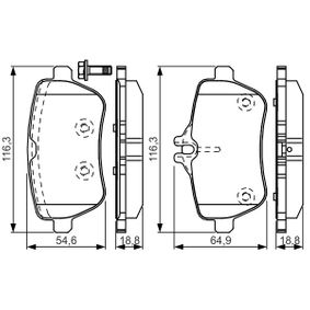 Bremsbelagsatz, Scheibenbremse Breite: 116,3mm, Höhe 1: 64,9mm, Höhe: 54,6mm, Dicke/Stärke: 18,8mm mit OEM-Nummer 008 420 34 20