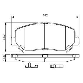 Bremsbelagsatz, Scheibenbremse Breite: 142mm, Höhe: 61,2mm, Dicke/Stärke: 15,8mm mit OEM-Nummer 25564 BOSCH