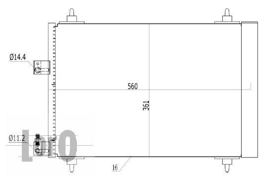 ABAKUS  009-016-0010 Kondensator, Klimaanlage Netzmaße: 560x361x16