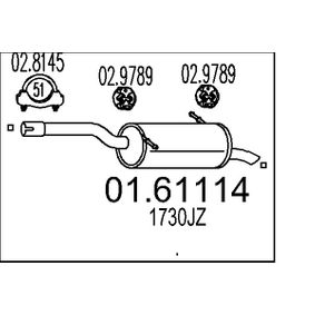 MTS  01.61114 Endschalldämpfer Länge: 990mm