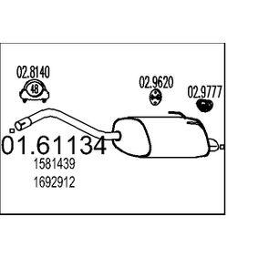MTS  01.61134 Endschalldämpfer Länge: 880mm