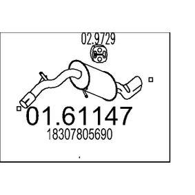 MTS  01.61147 Endschalldämpfer Länge: 990mm