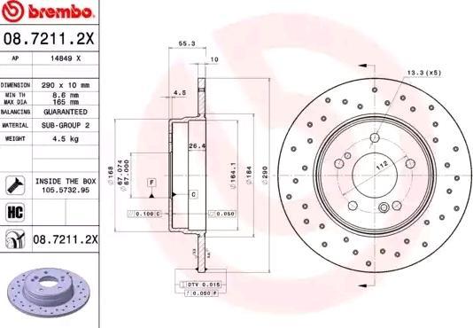 Disc Brakes BREMBO 08.7211.2X 8020584215258