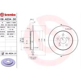 Bremsscheibe Bremsscheibendicke: 9mm, Lochanzahl: 5, Ø: 259mm mit OEM-Nummer 42431 02250