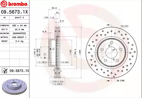 Bremsscheiben 09.5673.1X BREMBO 09.5673.1X in Original Qualität