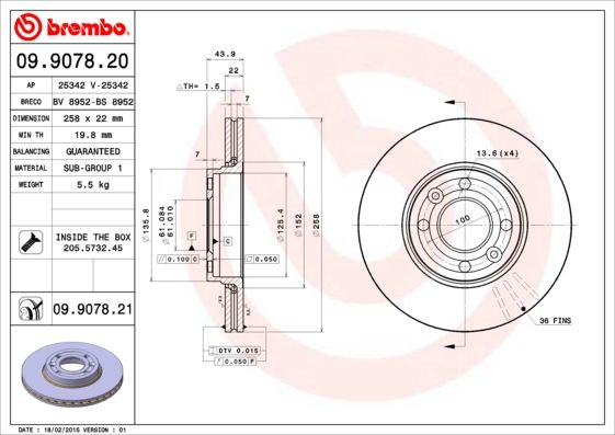 09.9078.21 BREMBO from manufacturer up to - 25% off!