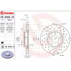 Brake Disc Brake Disc Thickness: 25mm, Num. of holes: 5, Ø: 300mm with OEM Number C26Y-3325X-D