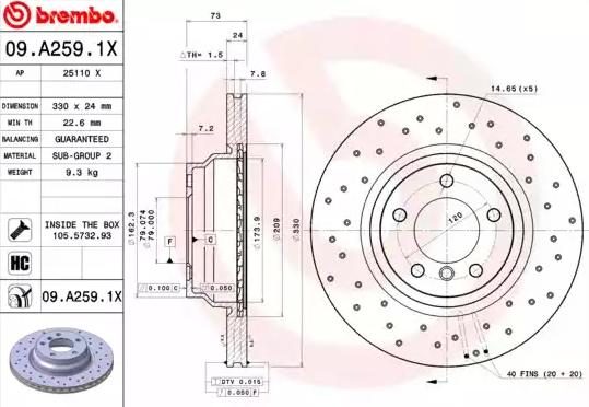 Disc Brakes BREMBO 09.A259.1X 8020584217597