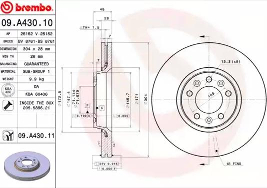 Disc Brakes BREMBO 09.A430.11 8020584214497