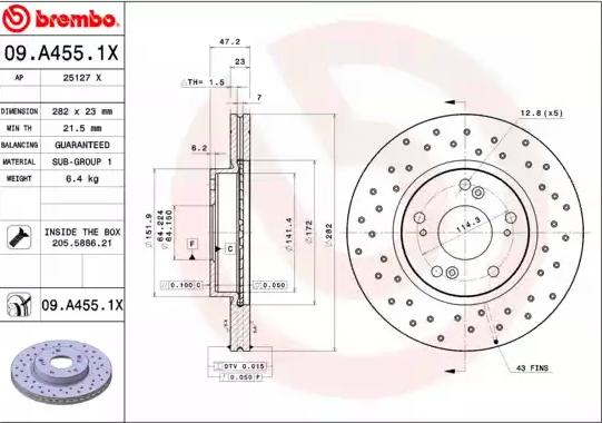 Disc Brakes BREMBO 09.A455.1X 8020584217627