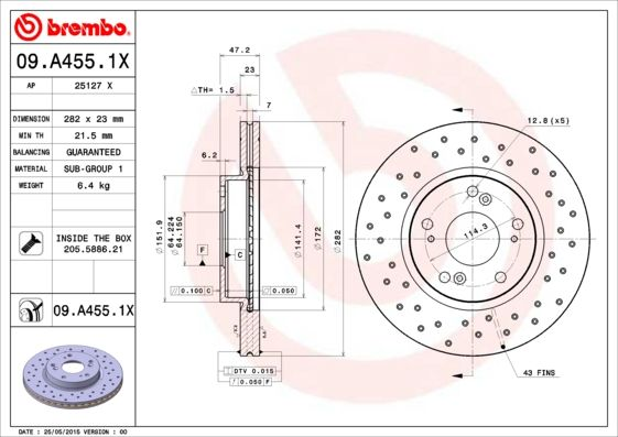 Article № 09.A455.1X BREMBO prices