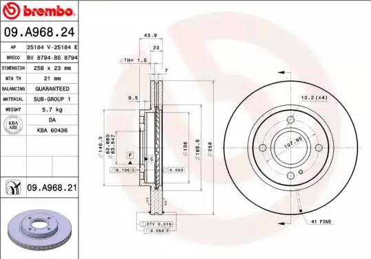 Disc Brakes BREMBO 09.A968.21 8020584220528