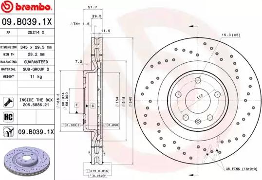Disc Brakes BREMBO 09.B039.1X 8020584217634