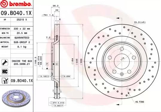 Disc Brakes BREMBO 09.B040.1X 8020584217726