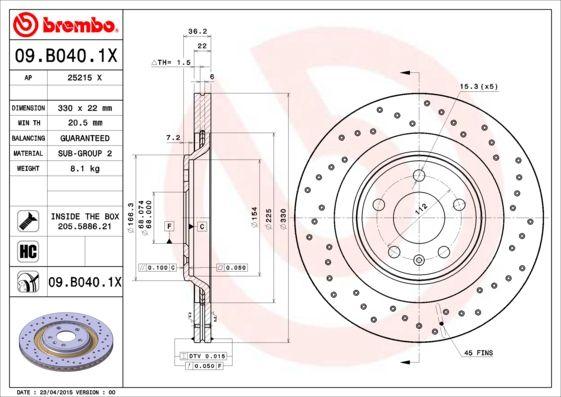 Article № 09.B040.1X BREMBO prices