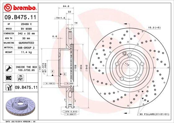 Scheibenbremsen BREMBO 09.B475.11 Bewertung