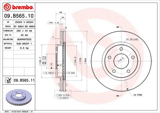 Artikelnummer 09.B565.11 BREMBO Preise