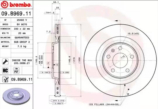 Disc Brakes BREMBO 09.B969.11 8020584218396