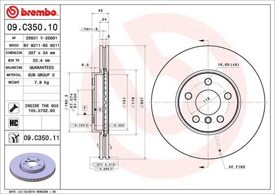 Brake Discs 09.C350.11 BREMBO 09.C350.11 original quality