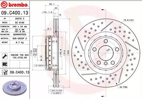 Disc Brakes BREMBO 09.C400.13 8020584220061