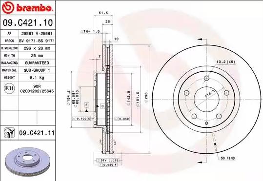Disc Brakes BREMBO 09.C421.11 8020584221051