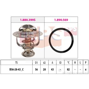Thermostat, coolant D1: 56mm, D2: 28mm with OEM Number 90916-03125