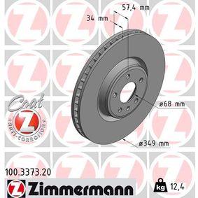 Bremsscheibe Bremsscheibendicke: 34mm, Lochanzahl: 5, Ø: 349mm mit OEM-Nummer 80A 615 301 G