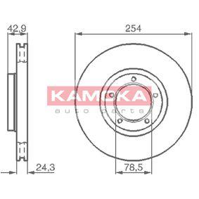 Bremsscheibe Bremsscheibendicke: 24mm, Lochanzahl: 5, Ø: 254mm mit OEM-Nummer 5 029 815
