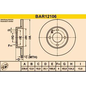 Barum  BAR12106 Bremsscheibe Bremsscheibendicke: 12,0mm, Lochanzahl: 4, Ø: 239,0mm