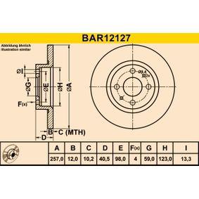 Brake Disc BAR12127 PUNTO (188) 1.2 16V 80 MY 2006