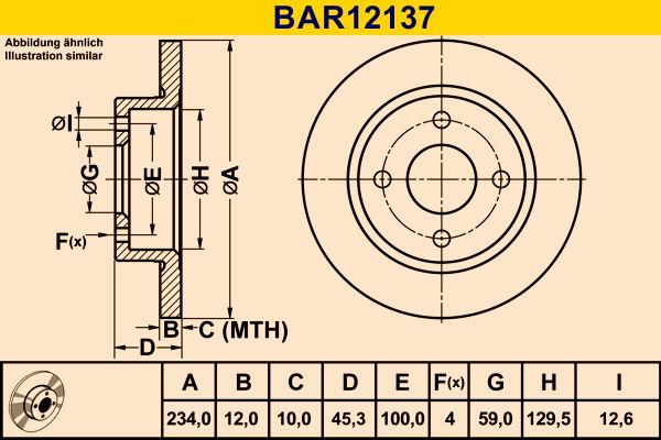 Barum  BAR12137 Bremsscheibe Bremsscheibendicke: 12,0mm, Lochanzahl: 4, Ø: 234,0mm