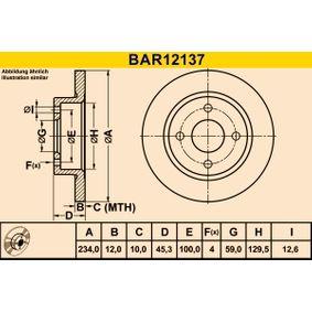 Δισκόπλακα BAR12137 MICRA 2 (K11) 1.3 i 16V Έτος 1992