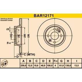 Bremsscheibe Bremsscheibendicke: 12,0mm, Lochanzahl: 4, Ø: 259,0mm mit OEM-Nummer 453 420 0000