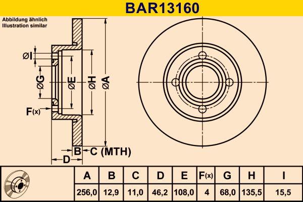 Barum  BAR13160 Bremsscheibe Bremsscheibendicke: 12,9mm, Lochanzahl: 4, Ø: 256,0mm