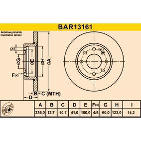 Barum  BAR13161 Bremsscheibe Bremsscheibendicke: 12,7mm, Lochanzahl: 4, Ø: 236,0mm