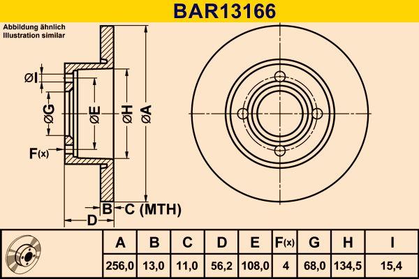 Barum  BAR13166 Bremsscheibe Bremsscheibendicke: 13,0mm, Lochanzahl: 4, Ø: 256,0mm