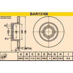 Bremsscheibe Bremsscheibendicke: 13,0mm, Lochanzahl: 4, Ø: 256,0mm mit OEM-Nummer 895.615.301
