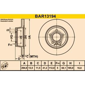 Bremsscheibe Bremsscheibendicke: 13,5mm, Lochanzahl: 5, Ø: 294,0mm mit OEM-Nummer 7D0 615 601A
