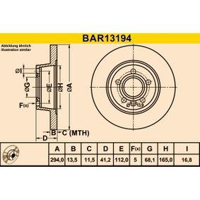 Barum  BAR13194 Bremsscheibe Bremsscheibendicke: 13,5mm, Lochanzahl: 5, Ø: 294,0mm