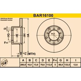 Disque de frein Ø: 280,0mm, plein BAR16100