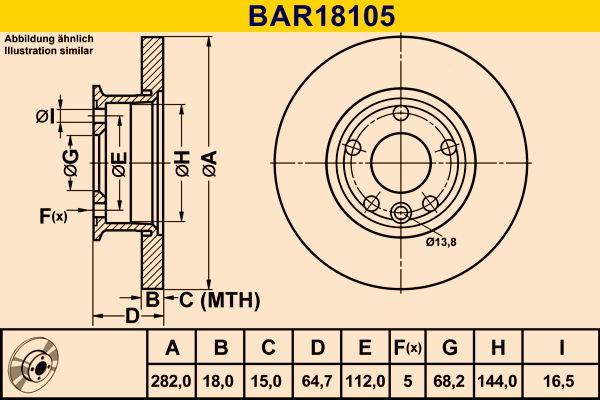 Barum  BAR18105 Bremsscheibe Bremsscheibendicke: 18,0mm, Lochanzahl: 5, Ø: 282,0mm