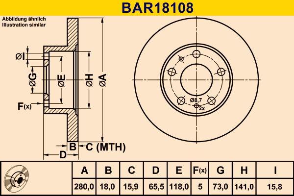 Barum  BAR18108 Bremsscheibe Bremsscheibendicke: 18,0mm, Lochanzahl: 5, Ø: 280,0mm
