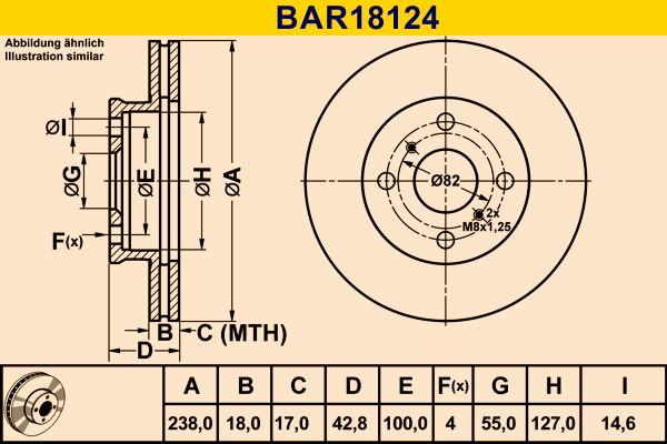 Barum  BAR18124 Bremsscheibe Bremsscheibendicke: 18,0mm, Lochanzahl: 4, Ø: 238,0mm