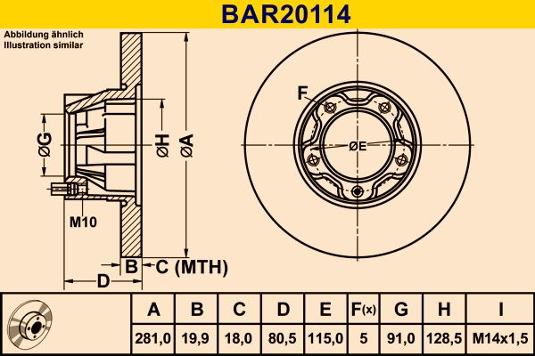Barum  BAR20114 Bremsscheibe Bremsscheibendicke: 19,9mm, Lochanzahl: 5, Ø: 281,0mm