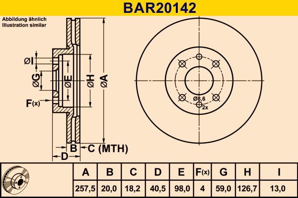 Barum  BAR20142 Bremsscheibe Bremsscheibendicke: 20,0mm, Lochanzahl: 4, Ø: 257,5mm